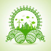 Ecology concept - eco cityscape with paisley design stock vector