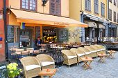 Early morning in cafe. Gamla Stan. Sweden. Stockholm