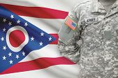 American Soldier With Us State Flag On Background - Ohio