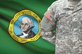 American Soldier With Us State Flag On Background - Washington
