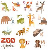 stock photo of cute frog  - Bright Alphabet set letters with cute animals - JPG