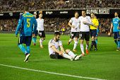 VALENCIA, SPAIN - JANUARY 25: Negredo earned a penalty during Spanish League match between Valencia CF and Sevilla FC at Mestalla Stadium on January 25, 2015 in Valencia, Spain