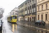 KRAKOW, POLAND - JAN 25, 2015: One of the streets of Kazimierz, former jewish quarter. Steven Spielberg shot his film Schindler's List largely in Kazimierz in 1993.