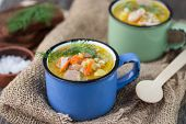 chicken soup with barley and vegetables