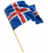 3D Icelandic flag (clipping path included)
