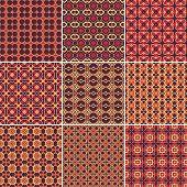 Set of 9 seamless geometric patterns