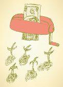 foto of kill  - Sketch money kill illustation in vintage style vector - JPG