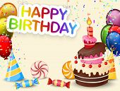 stock photo of birthday hat  - Vector illustration of Birthday background with birthday cake cartoon - JPG