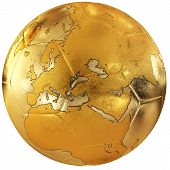 Gold Soccer With World Map