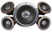 Sound System. Five Loudspeakers