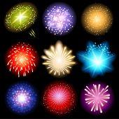 Bright fireworks set over black background
