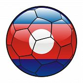 Laos flag on soccer ball