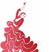 stock photo of  dancer  - Stylized silhouette of spanish flamenco dancer women - JPG