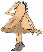 Caveman on tiptoes searching