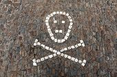 Human skull and crossbones depicted on pavement in front of the Sedlec Ossuary near Kutna Hora, Czech Republic.