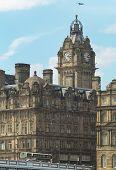 Edinburgh Downtown With Antique Building And Bridge. Scotland. Uk