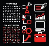 200 office, multimedia, computer, administration, presentation icons, signs, illustrations set, vector