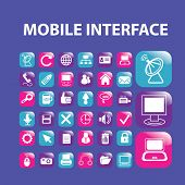 mobile smartphone interface, application icons, signs, illustrations set, vector