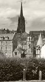 St. John´s Church Tower And Antique Buildings. Edinburgh. Uk