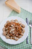 Delicious gnocchi with bolognese sauce