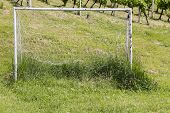 image of neglect  - Neglected soccer goall on an uncut grass - JPG