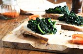 canape with  black cabbage