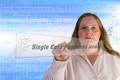 stock photo of bic  - Business woman pushing on a virtual button Single Euro Payment area - JPG