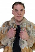 Man and fur coat