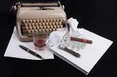 Old German Type Writer With Paper, Cigare, Vintage Watch And Fountain Pen