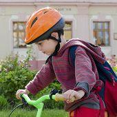 Child Boy Cycling On Bike