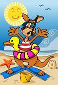 Happy Kangaroo Cartoon On The Beach