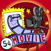 Cartoon Skit Movie Film And Cinecamera Happy Character