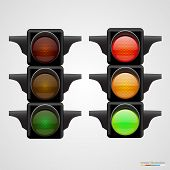 Realistic traffic lights Isolated on white