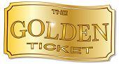 image of winner  - A golden winner ticket over a white background - JPG