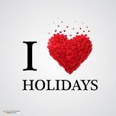 i love holidays heart sign.