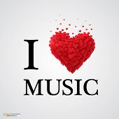 i love music heart sign.