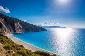 stock photo of greek-island  - Scenic view of Myrtos beach - JPG