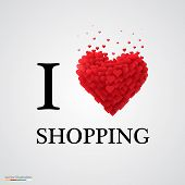 i love shopping heart sign.