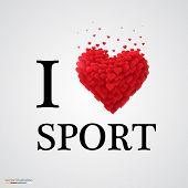 i love sport heart sign