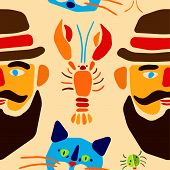 Seamless pattern. Cartoon beetle, crayfish, cat and man with mustache. Vector illustration.