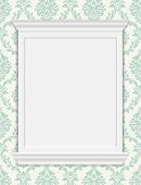 Vector vintage frame moldings on retro wallpaper. Damask pattern