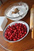 Preparing the cherry pie