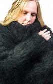 foto of snuggle  - Female Model snuggles in a angora sweater - JPG