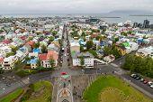 Reykjavik houses aerial view, long exposure, Iceland