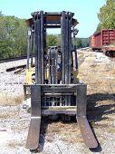 Deserted Forklift at Railroad