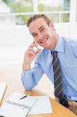 Smiling businessman speaking on the phone in his office