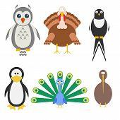 Birds icon set. Vector illustration