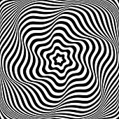 Illusion of wavy rotation movement. Abstract op art illustration. Vector art.