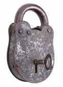 Locked Medieval Padlock With Key