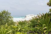 A view of the ocean in Cancun beach on the Yucatan, Mexico.
